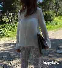 new ZARA Woman Off White Ecru Mulberry Silk Blouse Top High Neck size xs