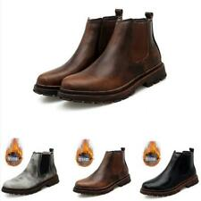 Mens Winter Warm Casual Work Round Toe Ankle Chelsea Boot Retro Slip On Shoes