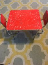 BR128  AMERICAN GIRL Doll Molly ~ Red Chrome Table and Chair Set Retired