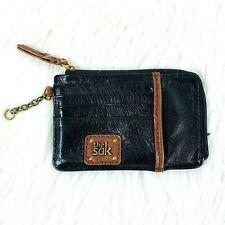 The Sak Wallet Credit Card Holder Zip Up Black Brown Leather Case