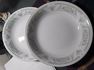 2 Serving Bowl White porcelain fine china with light blue flowers and silver rim