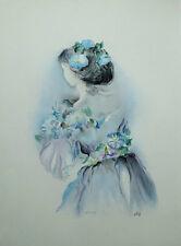 LESTAGE Denise - Jeune fille fleurie - LIthographie originale signée #250ex