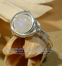 LOVELY RAINBOW MOONSTONE 925 SILVER RING - SIZE  O - 7   All sizes