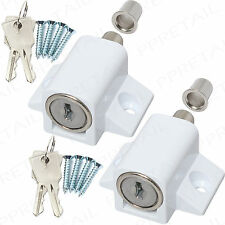 2x French Doors Lock Catches Heavy Duty Metal Security Sliding Patio Window Bolt White