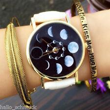 HS Damenuhr Armbanduhr Quarzuhr Mondfinsternis Analog Lederband Watch M10894