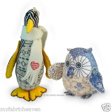 2 X SEWING PATTERNS Starry-Eyed Owl & Piccolo Penguin Soft Toy Easy Instructions