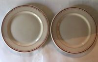 """2- Iroquois China 9"""" Luncheon Plate-Tan With Red Stripe"""