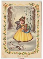 Glossy Card Vintage Little Girl Dog Photo Frame Decorations Christmas Bells