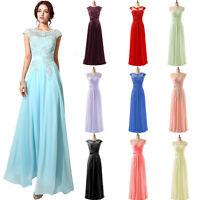 Long Women Formal Bridesmaid Party Lace Applique Dresses Plus Prom Evening Gowns