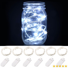 6Pack Fairy Lights Cool White LED String Lights Battery Operated 1M/10 Led  US