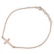 TOP TREND! Rose Gold Pltd Sideways Cross .925 Sterling Silver Bracelet