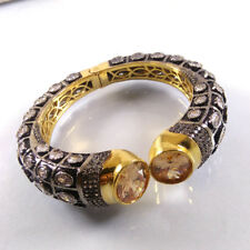 CITRINE & CZ Gemstone Gold Plated Indian Designer Cuff Bangle Bracelet Jewelry