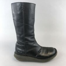 Dr Martens Black Leather Mid Calf Pull Zip Up Wedge Booties Boots 39 UK6