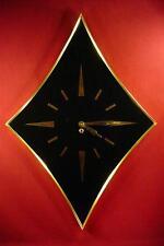 LARGE VINTAGE MID CENTURY GEOMETRIC WALL CLOCK KEY WIND 1960s TURNER