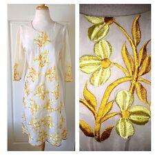 Vintage Embroidered Dress Floral Gold Yellow Spring Mod Boho Ooak
