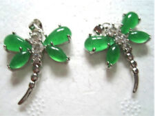 Delicate 925 Sterling Silver Crystal Emerald Jade Dragonfly Amulet Pendant