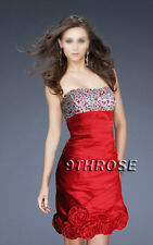 UTTERLY SWEET! ROSE HEM BEADED BRIDESMAID/COCKTAIL/PARTY DRESS; RED AU18/US16