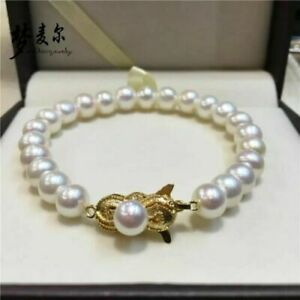 """classic 9-10mm south sea round white pearl bracelet 7.5""""-8"""""""