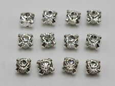 100 Silver Clear Crystal Glass Rhinestones Rose Montees 6mm Sew on Beads