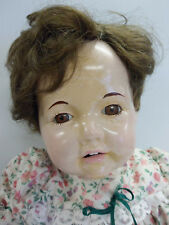 """Antique Vintage Composition Doll with Teeth Brown Eyes Mouth Open 18"""" Nice!"""