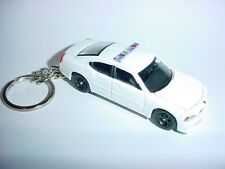 08 3D WHITE POLICE DODGE CHARGER R/T CUSTOM KEYCHAIN keyring key HEMI RT cop 911