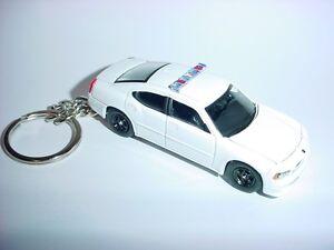 08 3D WHITE POLICE DODGE CHARGER R/T CUSTOM KEYCHAIN keyring key HEMI RT cop 911