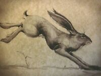 Lovely Vintage Hare Rabbit Drawing English Folk Art Bunny on Parchment Signed