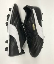 Puma King Top Di Fg Leather Soccer Cleats Black White Gold Size-11
