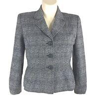 Womens 16 XL Blazer Suit Jacket JONES STUDIO White Black Tweed Linen Bl Texture