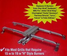 "BBQ BARBECUE REPLACEMENT H BURNER STAINLESS STEEL UNIVERSAL 15-19"" GAS GRILL NEW"