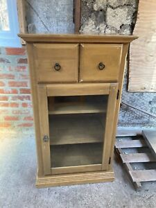 Brown Oak With Drawers Display Cabinet with Shelves CD Storage