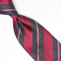 Josiah France Mens Silk Necktie Burgundy Charcoal Gray White Stripe Woven Tie