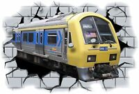 Huge 3D Tube Train Crashing through wall View Wall Sticker Mural Decal Film 66