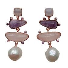 White Pearl Bluechalcedony Rose Quartz Amethyst Dangle Stud Earrings