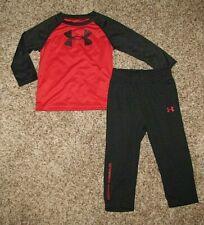 Under Armour Boys Long Sleeve Shirt & Pants Set 18 Months Red/Black