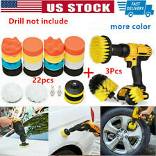 22 Polishing Pad Sponge Buff+3 Cleaning Drill Brush For Car Polisher cleaning US