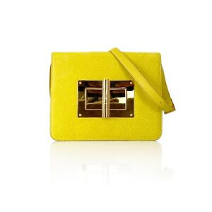 Tom Ford Collection Medium Peccary Suede Chrome Yellow Natalia Shoulder Bag