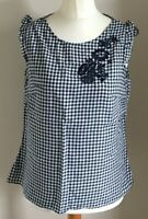 F&F Size 14 Ladies Blue & White Check Top With Blue Floral Print