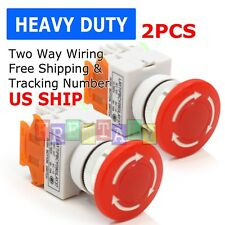 2pcs Emergency Stop Switch Red 600v 1 Nc 10a Contacts E Stop Twist Release