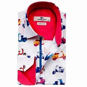 Men's Printed Shirt Long Sleeve Cotton White Sizes L, XL Claudio Lugli Scooters