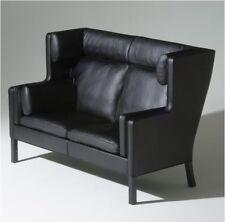 Borge Mogensen Inspired Coupe 2 Seater Sofa In Black Aniline Leather - VOGA