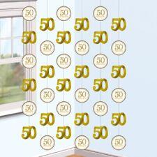 glitzernd golden 50th Jubiläum Saiten Dekoration X 6