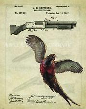 Pheasant Hunting Patent Poster Art Print 11x14 Browning Shotgun Antique  PAT405