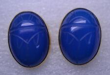 Vintage Gold Filled Huge 1 In. Carved Blue Chrysoprase Scarab Screwback Earrings