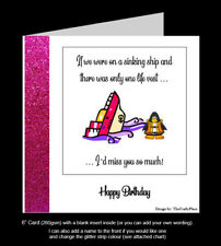 """""""If Only One Life Vest, I'd Miss You So Much"""" Birthday Card, Humorous (PR15)"""