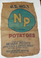 VTG U.S. No. 1 NP Potatoes Nevada Potato 100lb Burlap Potato Gunny Sack Bag Deco