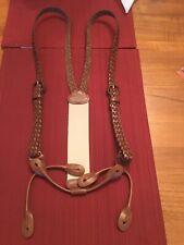 Trafalgar Nevada Brown Braided Leather Suspenders Braces Adjustable  Excellent