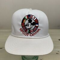 EPCOT CENTER - Vtg 1980s White Mickey Mouse World Flags Strapback Disney Hat