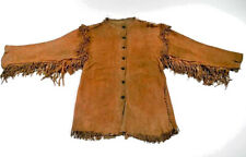 Men's Antique Native American Mountain Buck Skin/ cow Suede Leather war Shirt