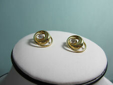 14 Kt Gold Spiral Earrings CZ Center Surgical Post Worn Seprately/ together New